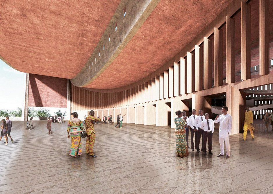 David Adjaye has moved to Accra to oversee the National Cathedral of Ghana with its dramatic engineered roof form which brings together public, ceremonial and religious uses.