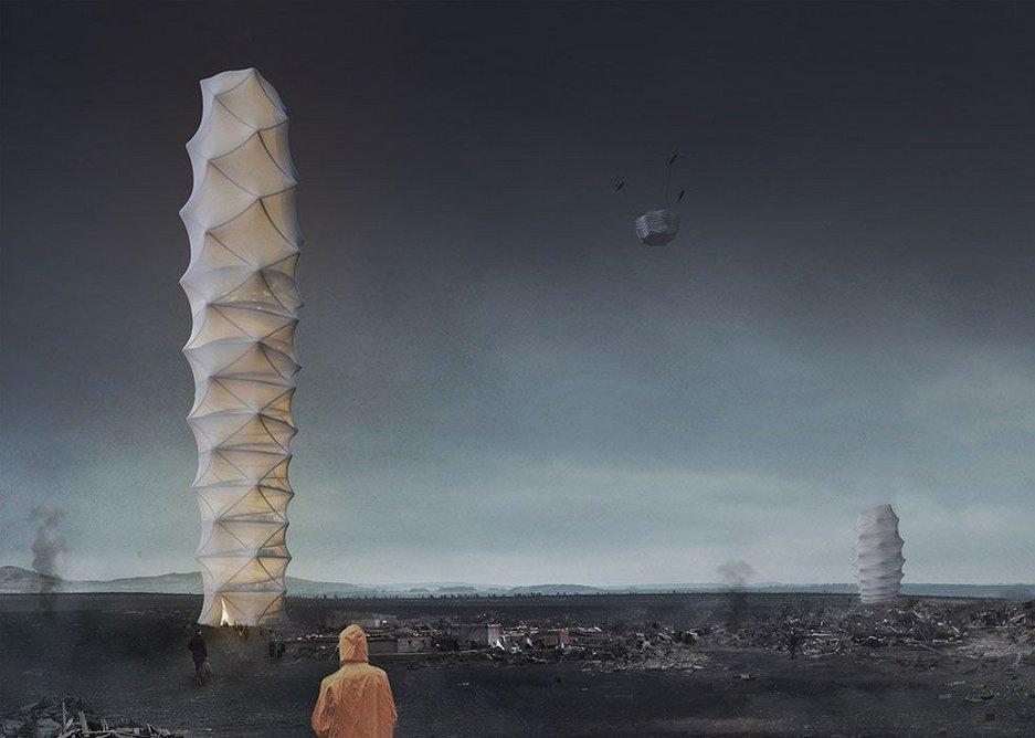 An unzippable idea for emergency relief: Skyscraper.zip  by Polish architects Damian Granosik, Jakub Kulisa, and Piotr Pańczyk