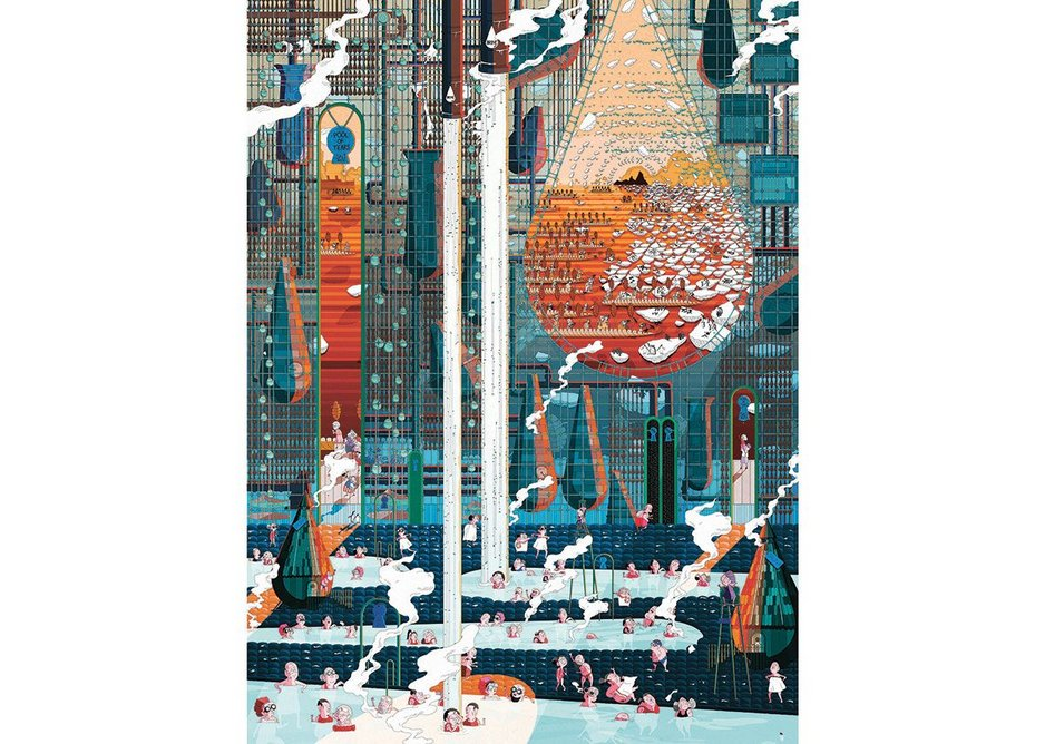 The Pool of Tears. Hand-drawn digital graphics. 1016 × 1372mm