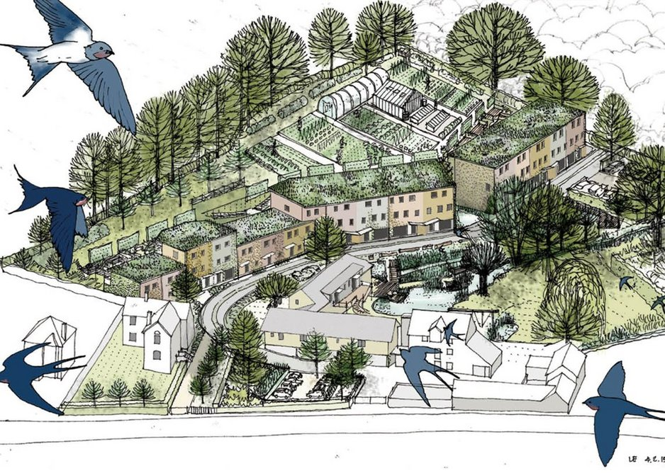 Cannock Mill Cohousing. Visualisation of the former mill site. Special emphasis is placed on green space with cars pushed to the boundaries.