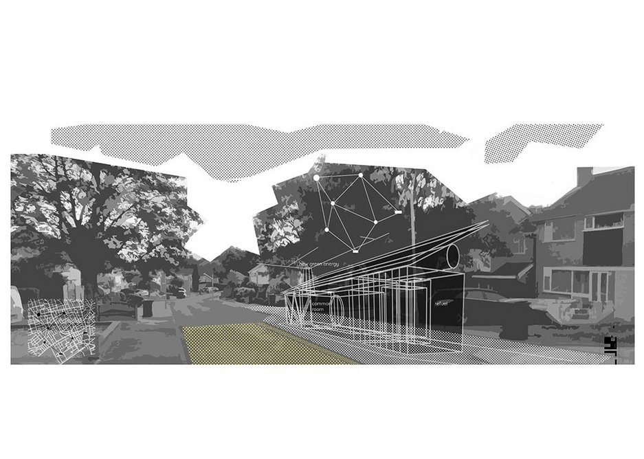 Street Support Hub: A neighbourhood common room for peripatic works, extra lessons, entertaining, with energy generating capacity. All in the area of a car parking space. Infrastructure that scales down energy and social services, while scaling up the spatial boundaries of the private home.