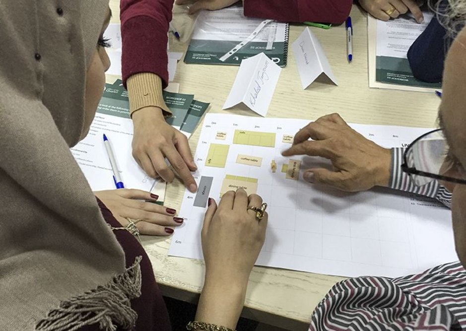 Workshop in Ramallah, looking at space standards in housing design.