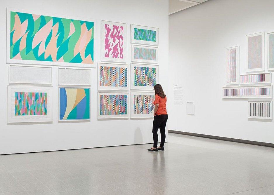 Installation view of Bridget Riley at Hayward Gallery 2019 © Bridget Riley 2019. Photo: Stephen White & Co.