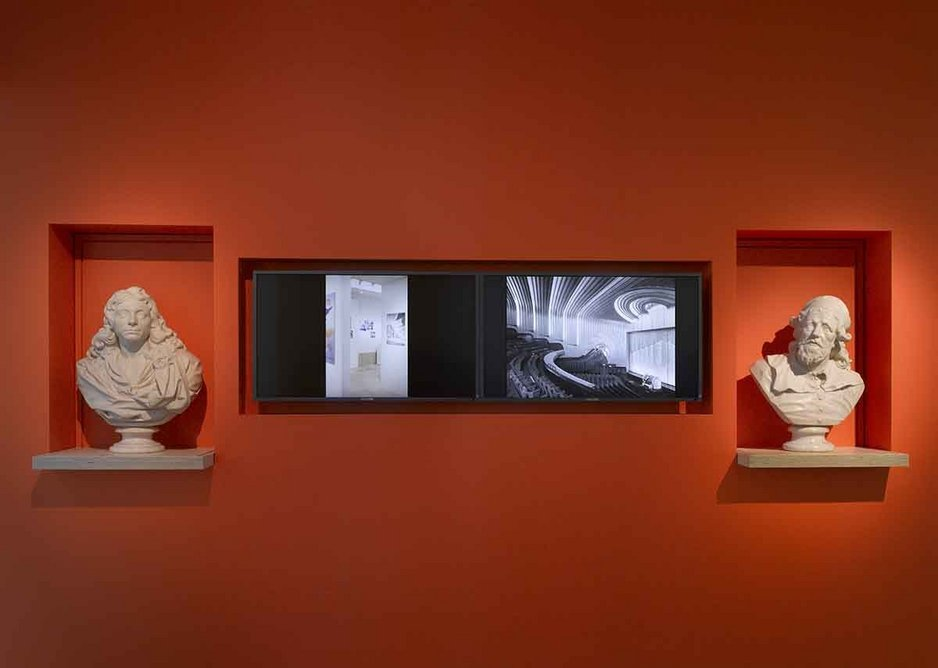Alongside the busts screens beam out more recent information