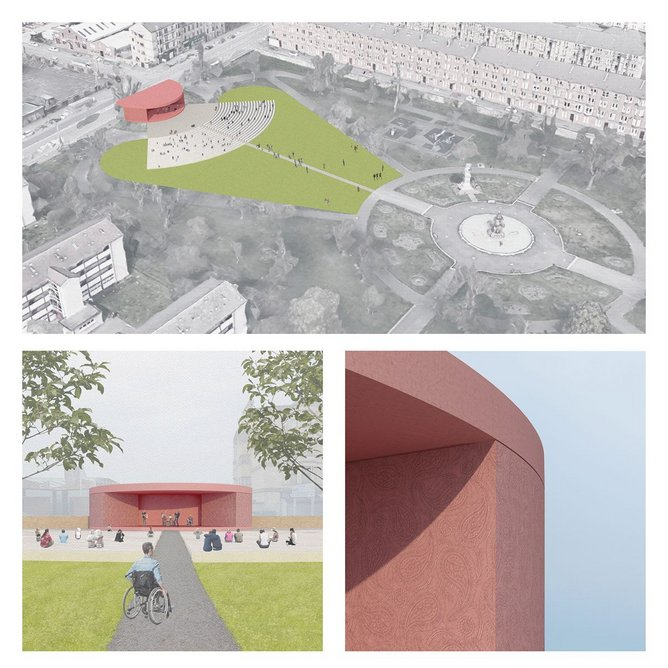 A new public events space for Paisley, envisaged local citizen Alison Love and Graeme Nicholls of Graeme Nicholls Architects as part of What if…?/Scotland. Image Courtesy of Graeme Nicholls Architects