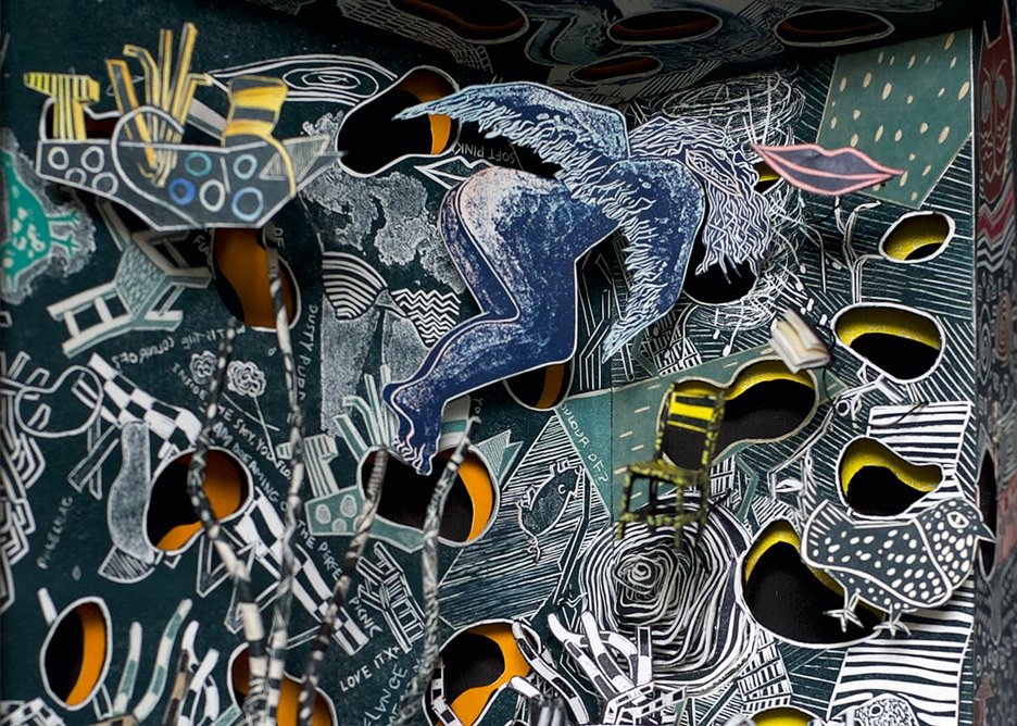 A Kerfuffle of Collisions by Will Alsop and Jane Frere. Linocut and mixed media, 41 x 41cm.