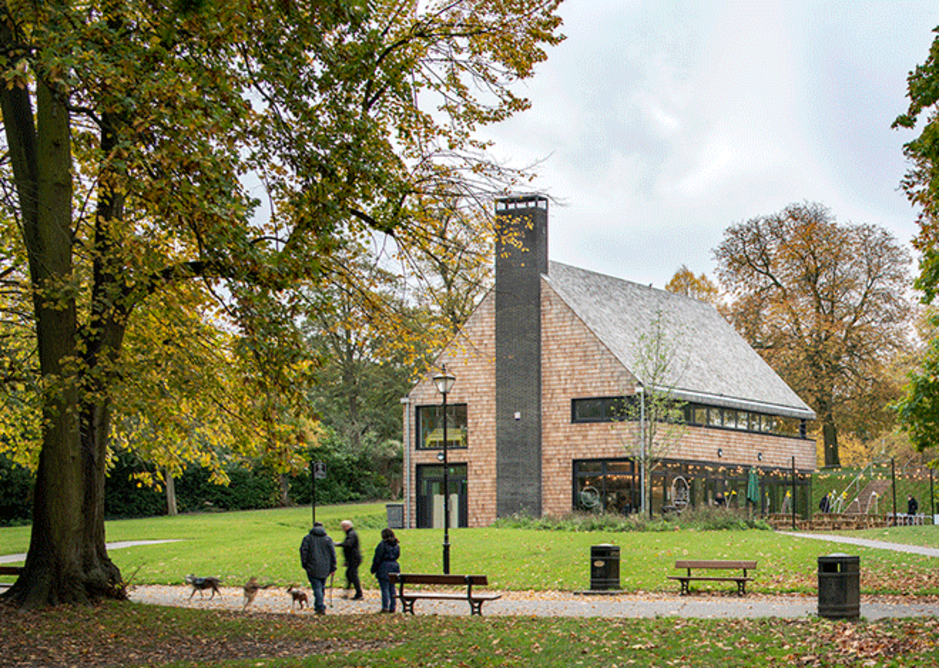 Designed by Chris Dyson Architects, the new cafe building combines refreshments facilities with an upper level community and events room.