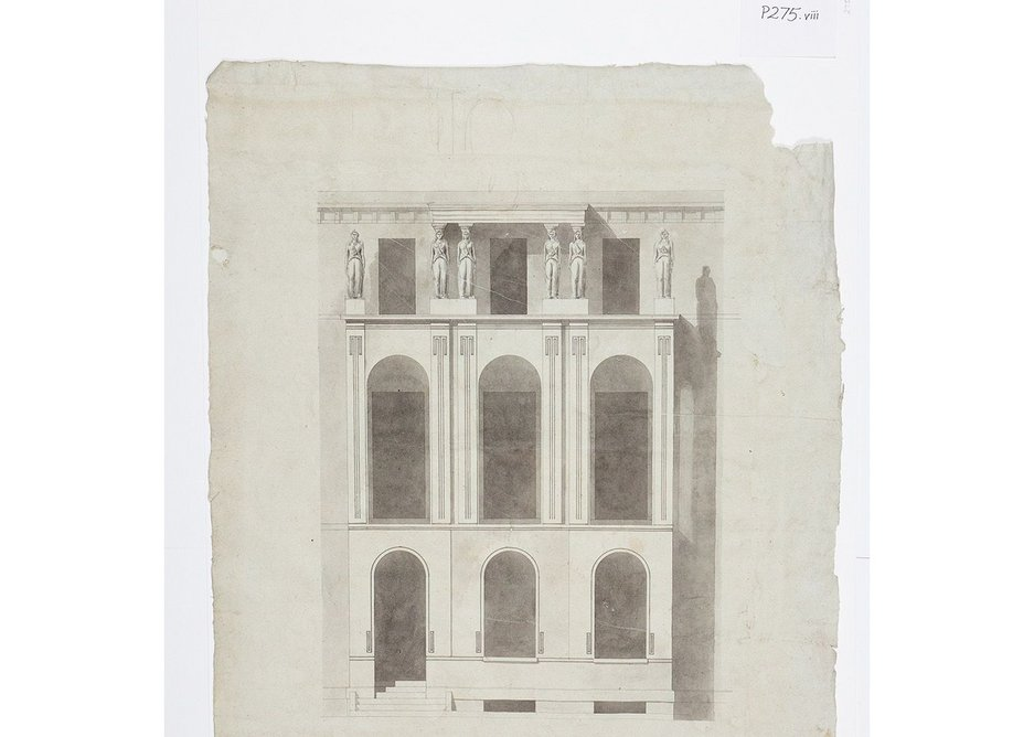Lincoln's Inn Fields elevation, a drawing found behind a painting in a frame in the museum.