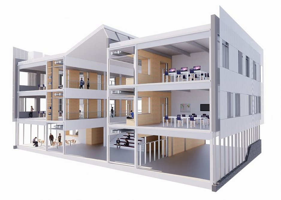 Early option study BIM model showing the teaching and social spaces in the Institute of Transformational Technologies for Dudley College of Technology.