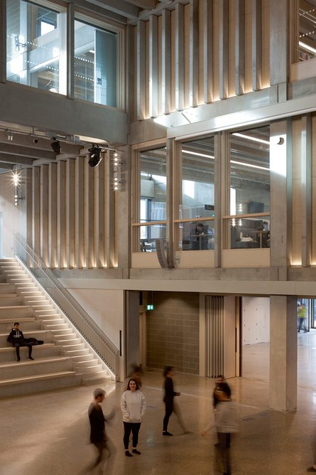 Concrete interiors are largely self finished, bar timber acoustic screens.
