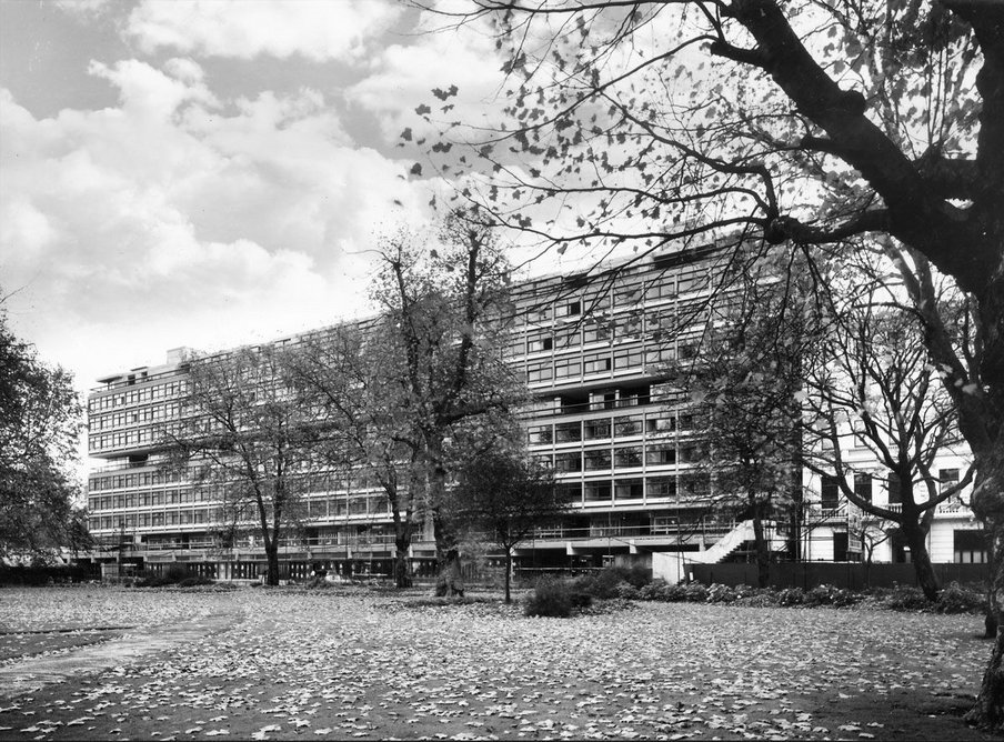 Southside halls of residence, Imperial College London, 1963, designed by Sheppard Robson & Partners.
