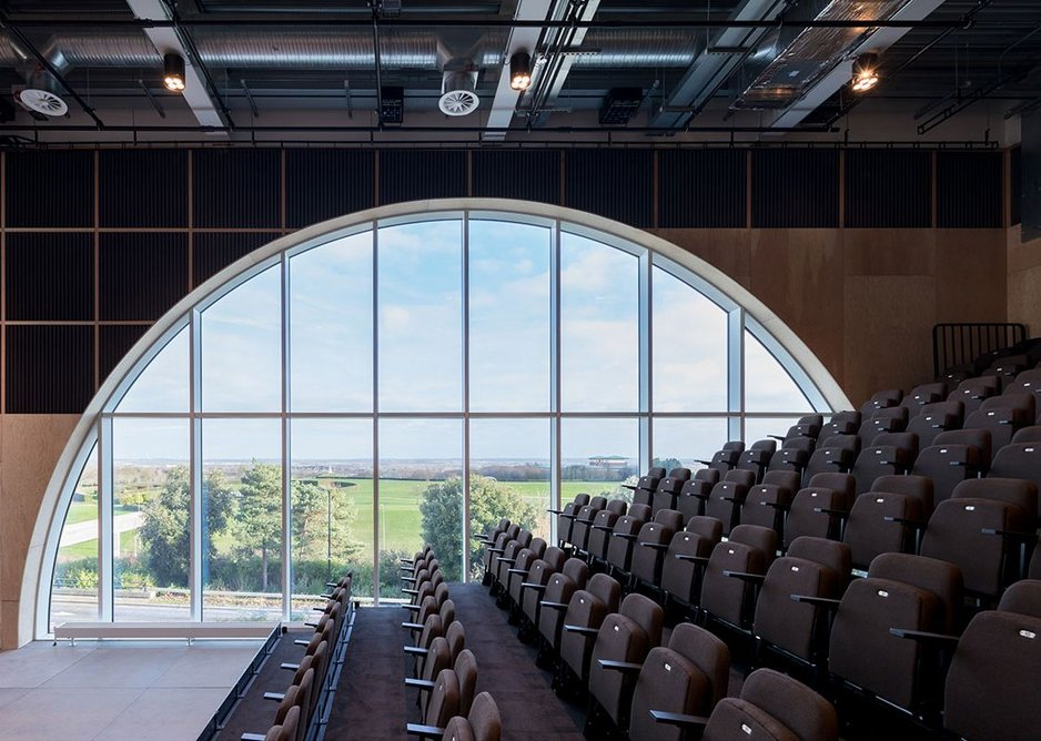 Inside the Sky Room with the bleacher seating extended. Credit Iwan Baan