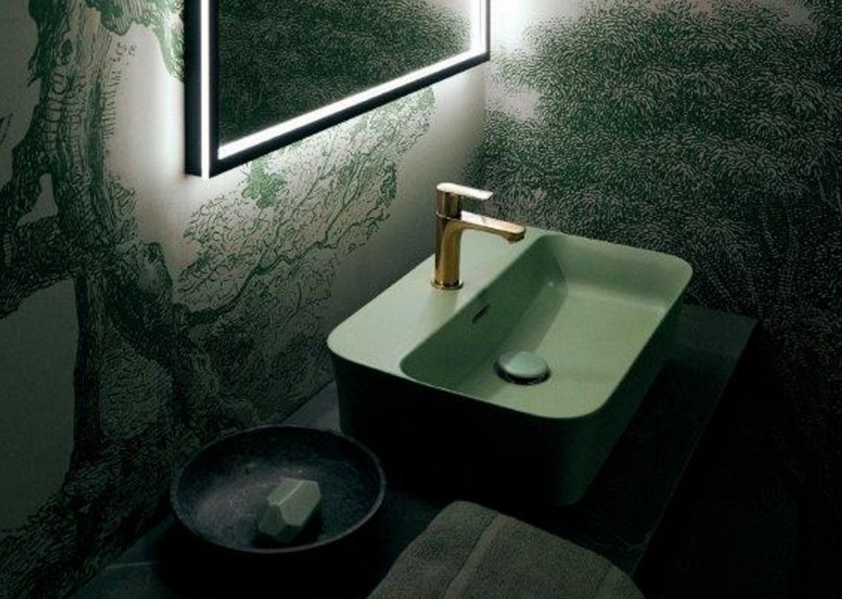 Ipalyss Vessel 55x38cm washbasin in Sage with Concept mixer tap in Brushed Gold.