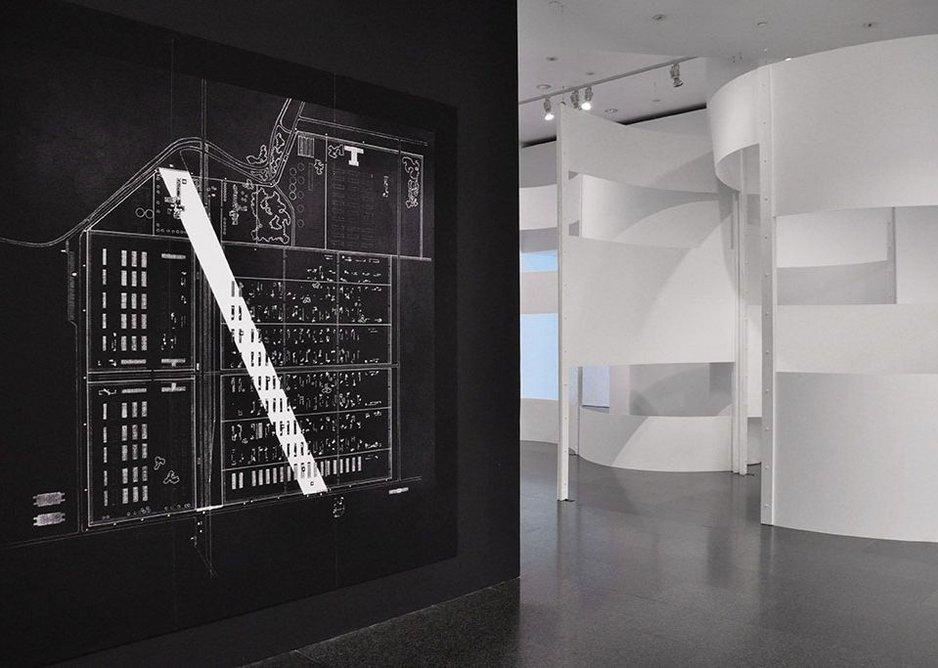 Installation image of Oskar Hansen – Open Form at Museu d'Art Contemporani de Barcelona, 2014 – an earlier edition of the New York exhibition.