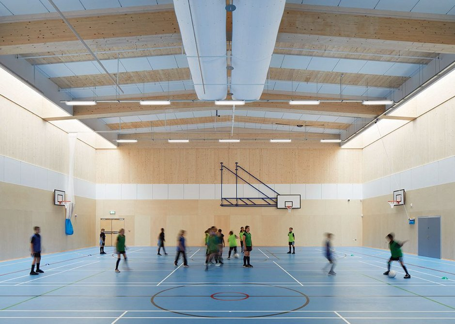 Architype fought hard for the rooflights in the gymnasium that bring aesthetic and literal lightness to what would otherwise by a 'heavy' structural roof.