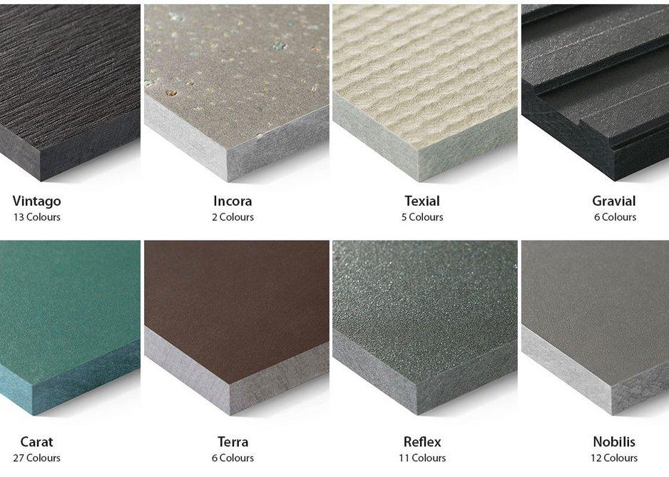 Swisspearl fibre cement panels: eight designs, 72 colours.