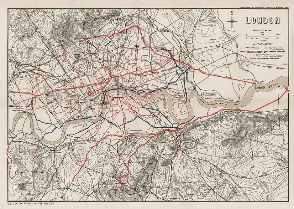 1880: Sewerage works in London. This mapshows the sewer network that Bazalgette bequeathed to London. The most prominent red lines are the main interception sewers.