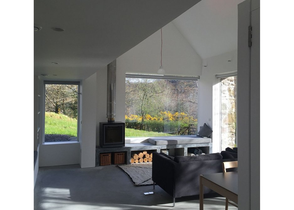Fernaig Cottage, interior north view, Scampton and Barnett Architects.