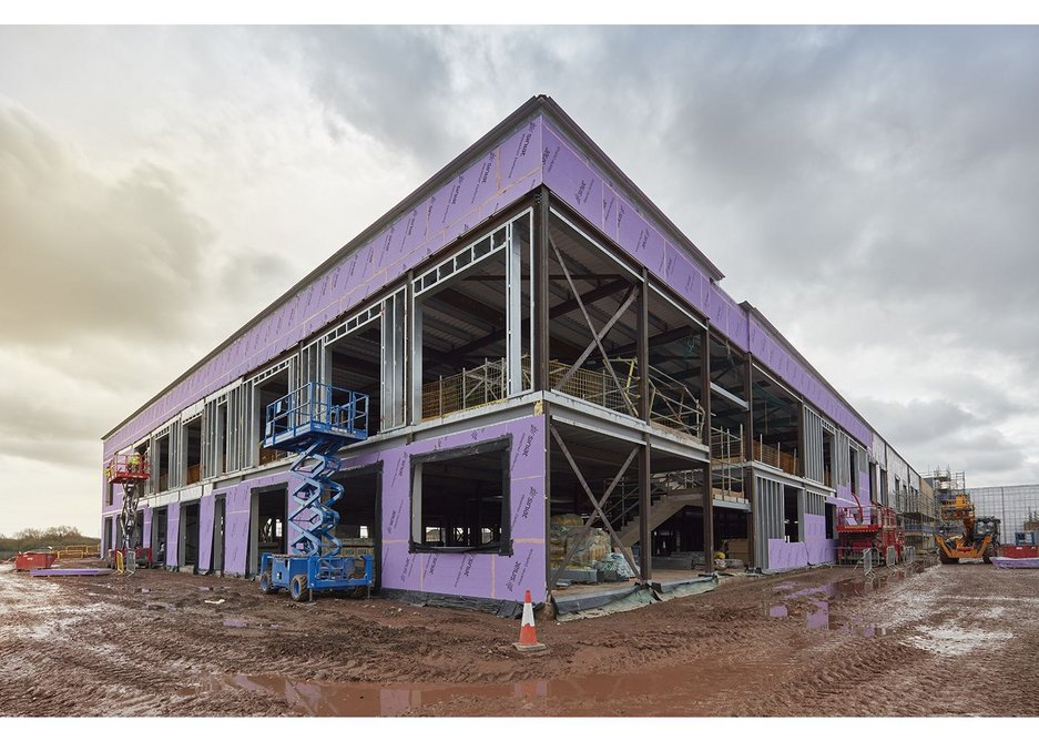Siniat Weather Defence showing on frame of new school in Cardiff.