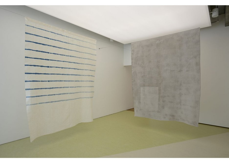Becky Beasley, OUS installation view, 2017. Two antique French linens, one with a suggestion of the blank space on the wall of The Bedstead waterpainting. Towner Art Gallery, Eastbourne.