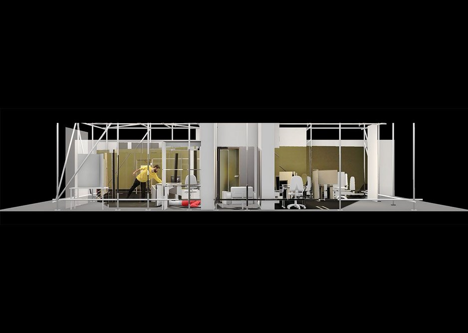 Composite of Forensic Architecture's physical and virtual reconstructions – 77sqm and 9:26min – of the internet café where Halit Yozgat was murdered on 6 April 2006 in Kassel, Germany.