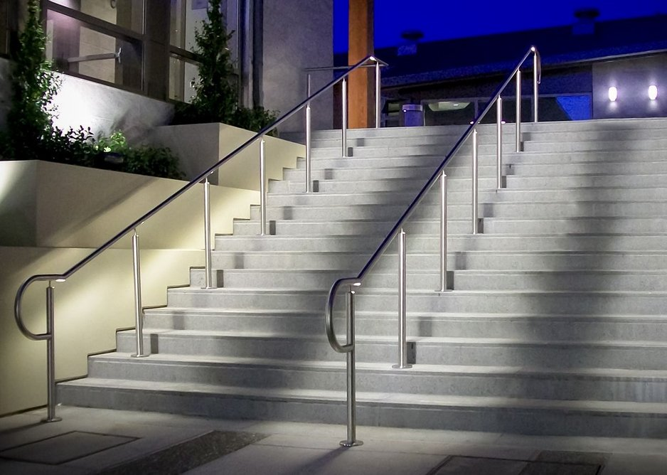 HDI Railing Systems' Circum guardrail with LED railing, Lafayette Library and Learning Center, California.