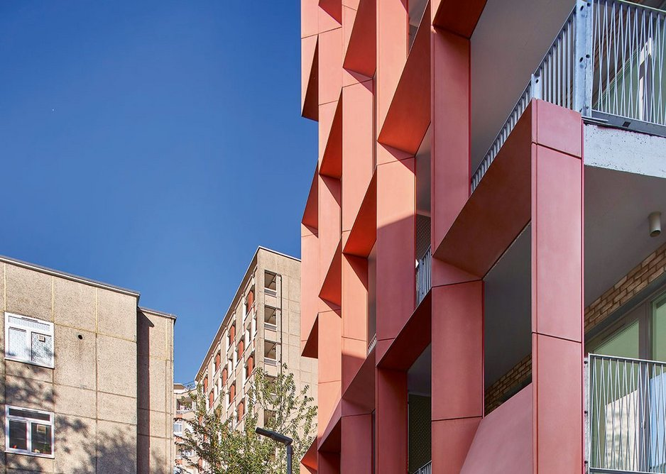 The design of the glass-fibre reinforced concrete screens evolved from studies of neighbouring facades.