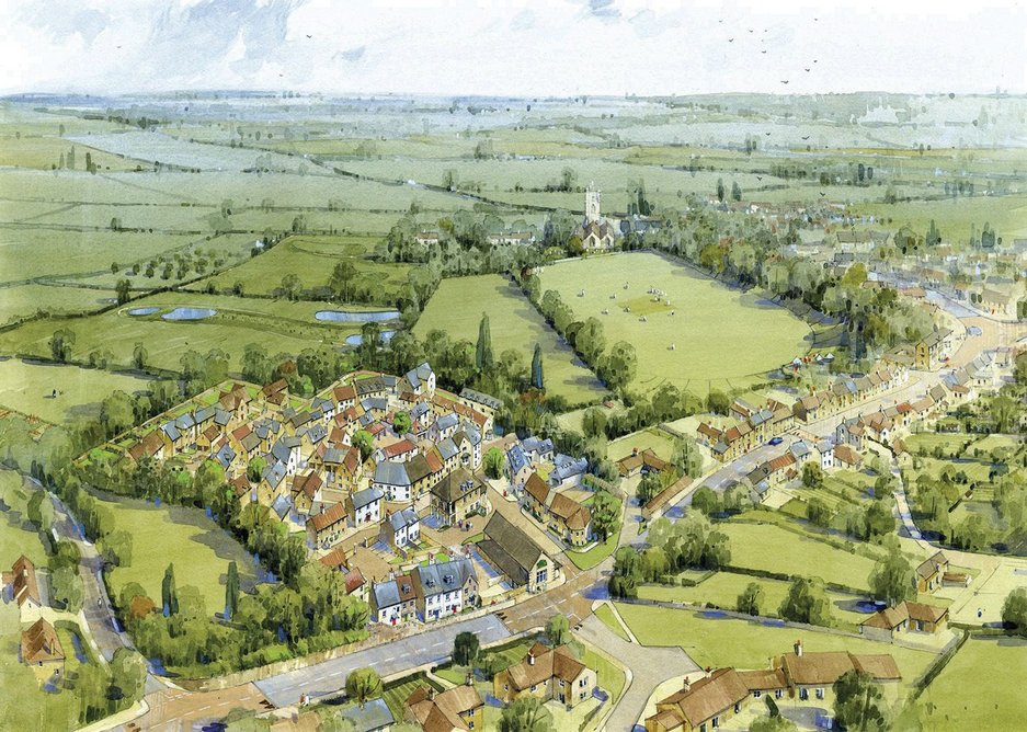 Bird's eye perspective shows relationship with the existing village and landscape.