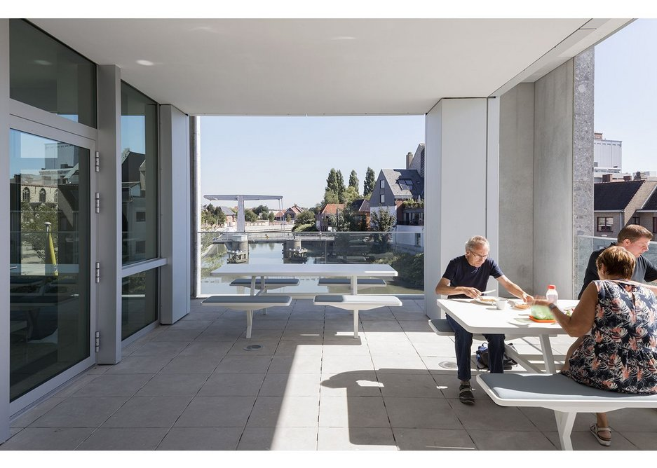 The staff canteen terrace leans over the river, capturing the views and tranquillity.