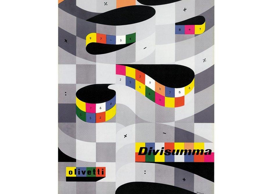 Poster for the Divissuma 24 calculator, designed by Herbert Beyer (1950s). Courtesy Associazione Archivio Storico Olivetti, Ivrea – Italy.