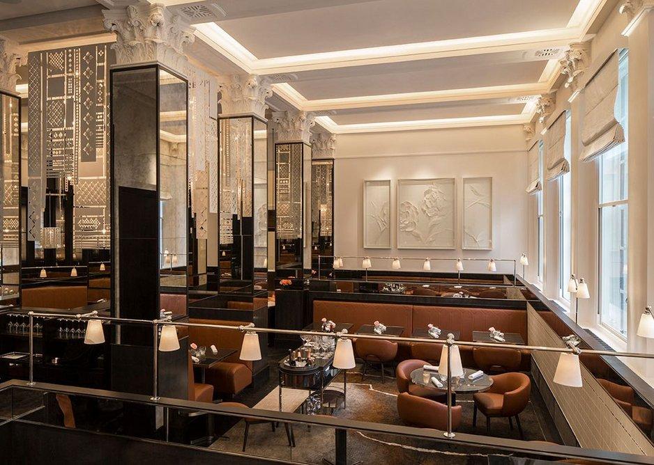 Evo-Blade razor edge trim and Oscar Elite smooth acoustic plaster throughout La Dame De Pic Restaurant at the Four Seasons Hotel London.
