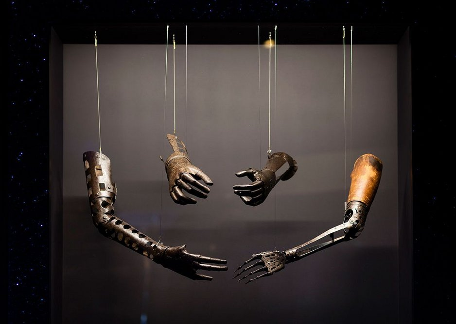 Prosthetic arms  and hands in the Robots exhibition..