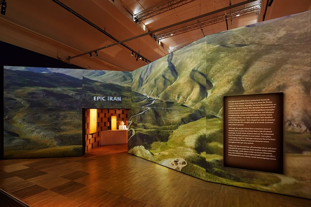 Entrance view of Epic Iran, an exhibition designed by Gort Scott at the V&A, London.