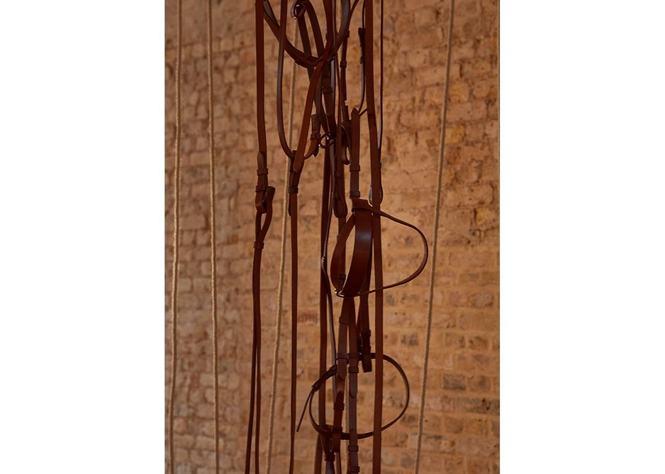 Leonor Antunes: The Frisson of the Togetherness at the Whitechapel Gallery. Detail of entwined leather straps.