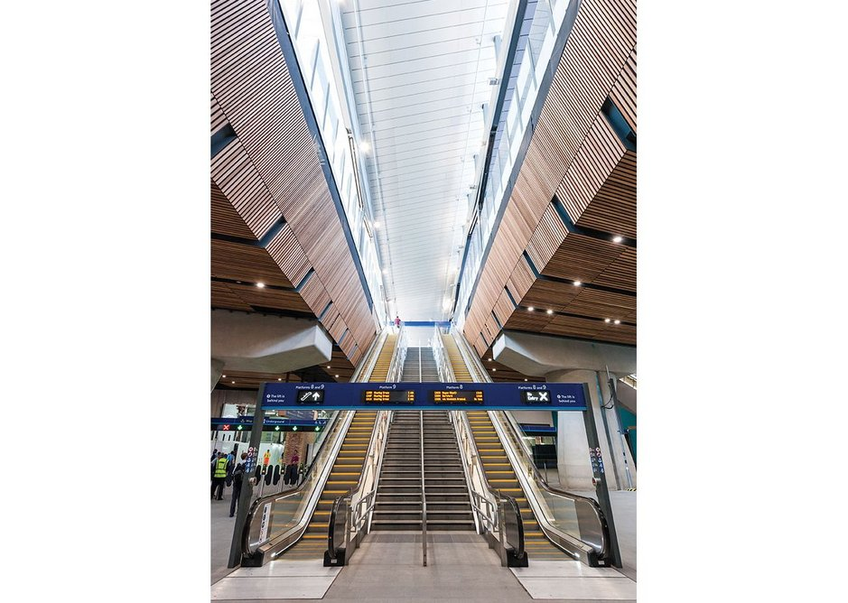 User orientation from concourse level is assisted with a rise to the light.