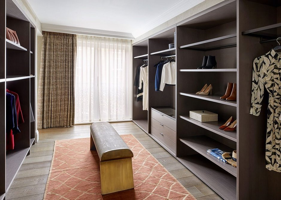 Dressing room for one of the master bedrooms. Timber flooring was deemed more suitable than carpet for such high-end apartments. The crescent rebuild incorporates apartments ranging from one to five bedrooms.