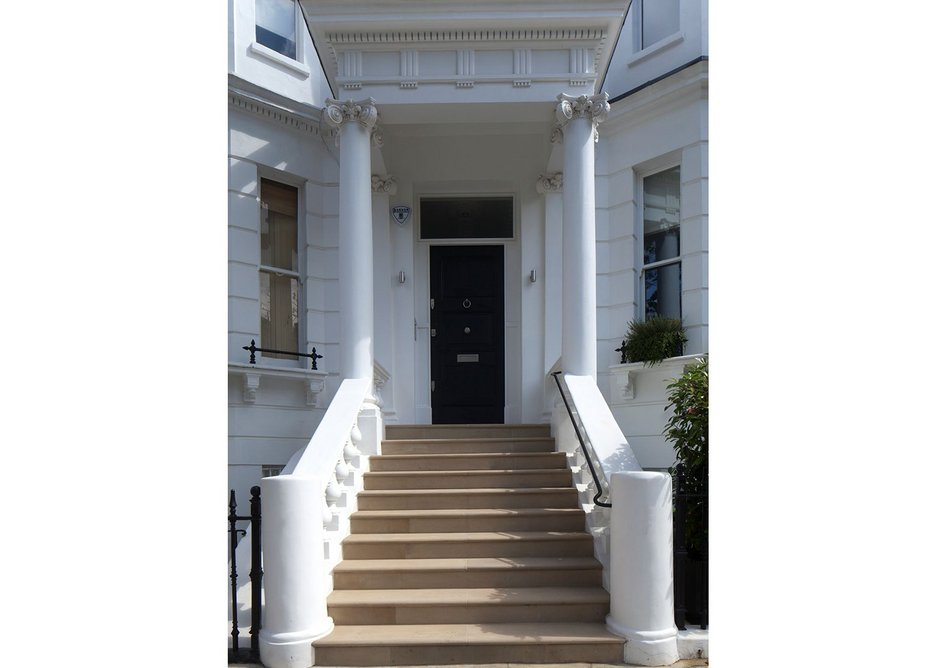 Rothendale York stone steps and Portland Grosvenor tiles with bespoke Patera finish