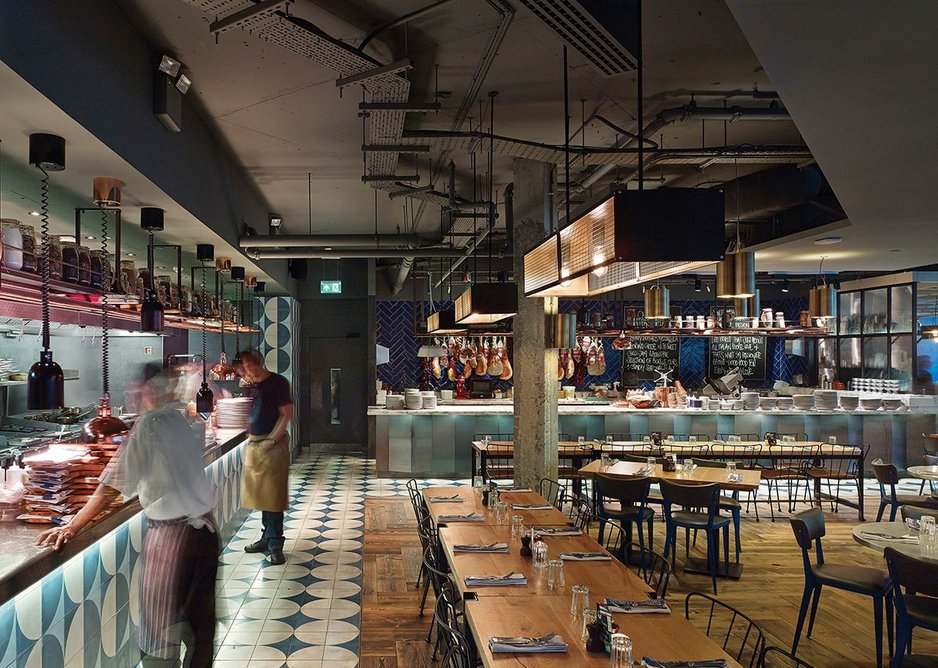 Open kitchens for Jamie's Italian at More London, designed by Stiff + Trevillion Architects.