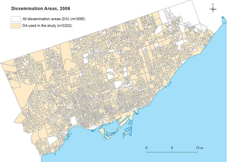 The dissemination area map of the city of Toronto (2006).