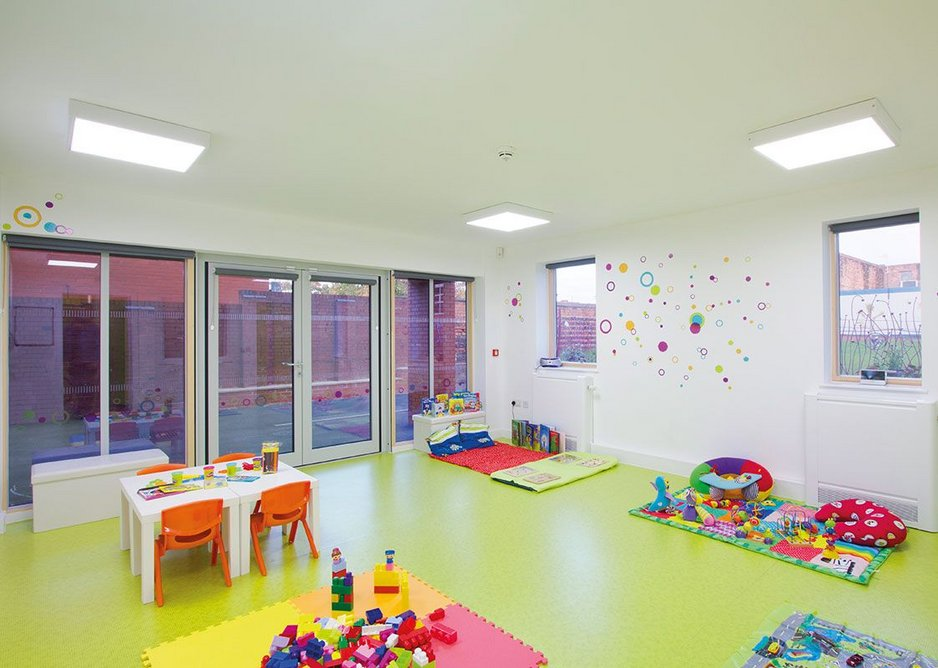 The creche and its outdoor playground can be packed up and the space used for other functions.