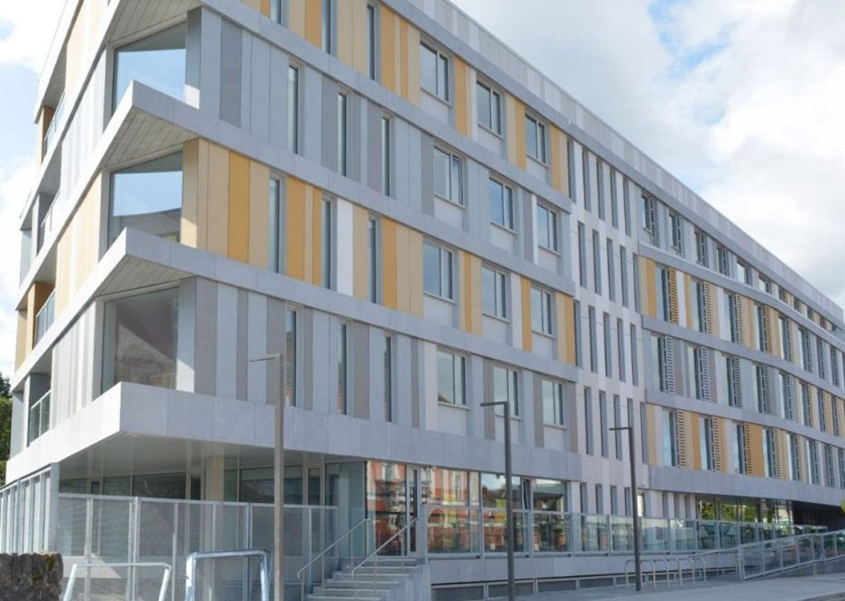 Swisspearl Carat, Nobilis and Reflex fibre cement cladding in complementary shades of yellow and grey at the Graduates student accommodation in Cork.