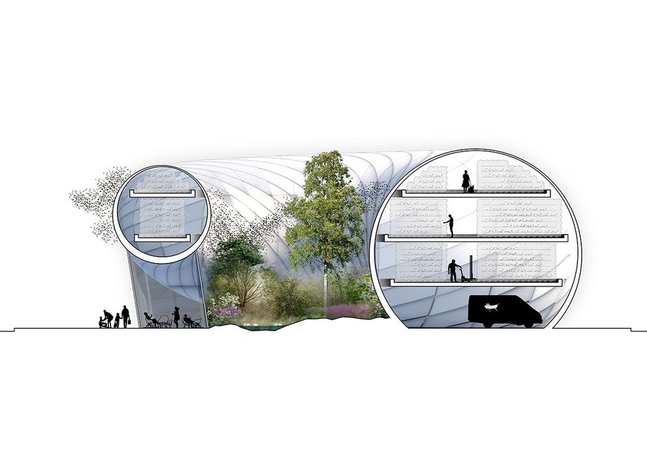 Cross section of Buzz Building, an insect hub proposed by Belatchew Arkitekter for the middle of a roundabout in Stockholm, Sweden. The concept aims to make the city self-sufficient in protein.
