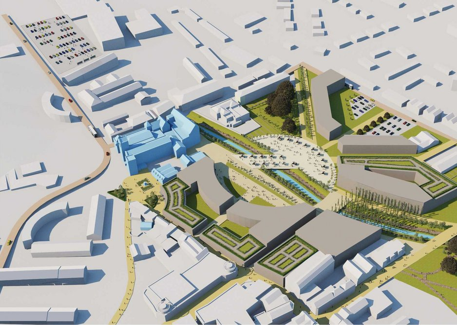 Aerial view of Purcell's proposed new plaza over the river in Dover.