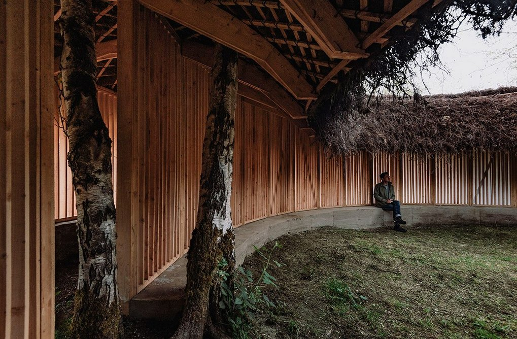 Silence - Alone in a World of Wounds, 2021, by Heather Peak and Ivan Morison (Studio Morison). Visitors are encouraged to experience the pavilion in silence. Photo © Charles Emerson, Courtesy The Oak Project and Yorkshire Sculpture Park.