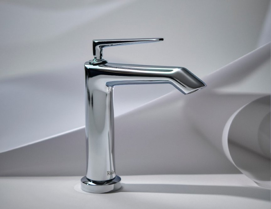 Riobel Venty Short bathroom washbasin mixer tap in Chrome: Iconic modern shape with sleek and streamlined form.