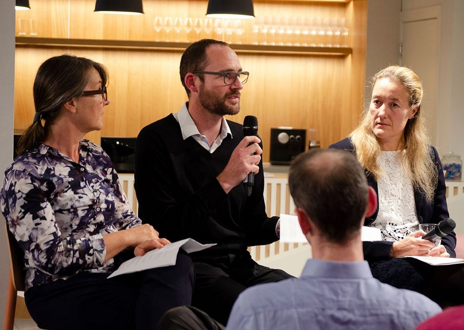 Speaking from the platform (left to right): Kay Hughes, Founder, Khaa; Ed Parham, Director, Space Syntax; Kate Hall, Design Director, HS2. Space in Architecture series, Knauf Clerkenwell. Credit Charlotte Collins RIBA