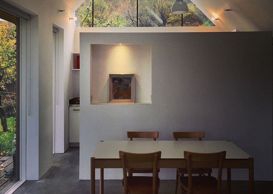 Fernaig Cottage, interior south view, Scampton and Barnett Architects.