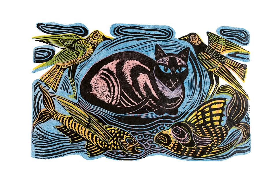 Feline Phantasy linocut in four colours 1948.