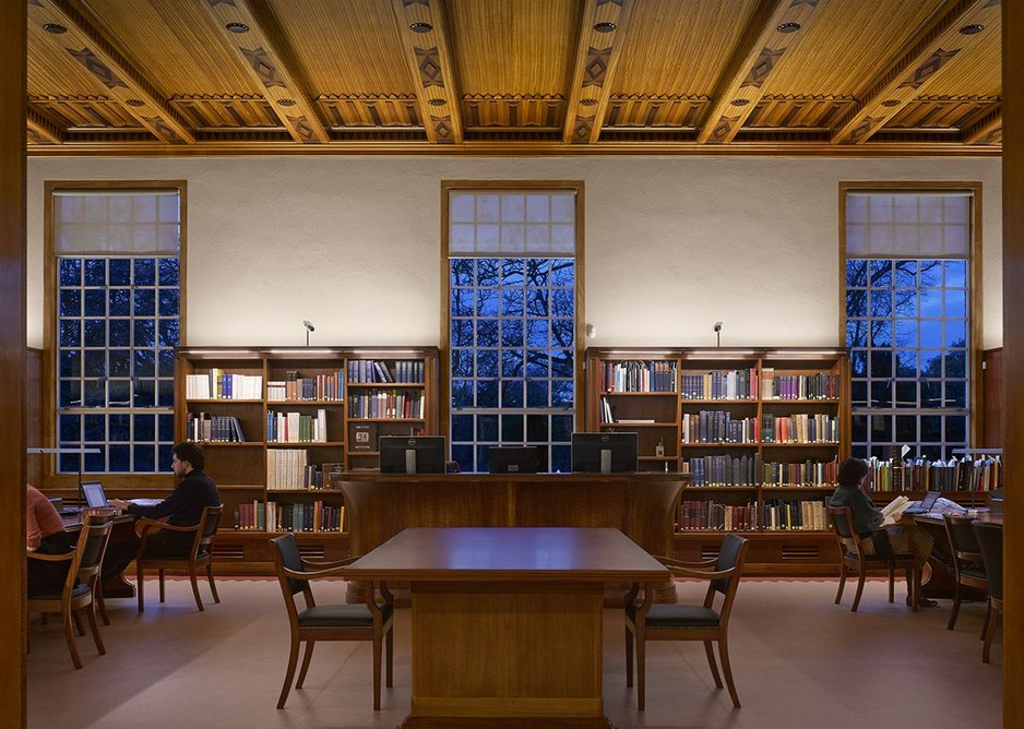 The Rare Books and Manuscripts reading room looking north showing the original, restored, fine-framed aluminium windows.