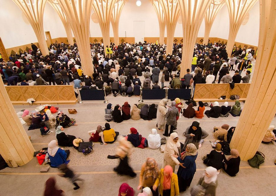 The main prayer hall accommodates men and women with a moveable partition between, of varying heights. The mosque claims to be the most inclusive of women in the country.